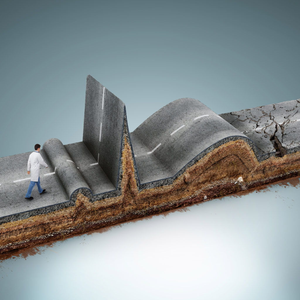 cgi medical illustration of a bumpy road
