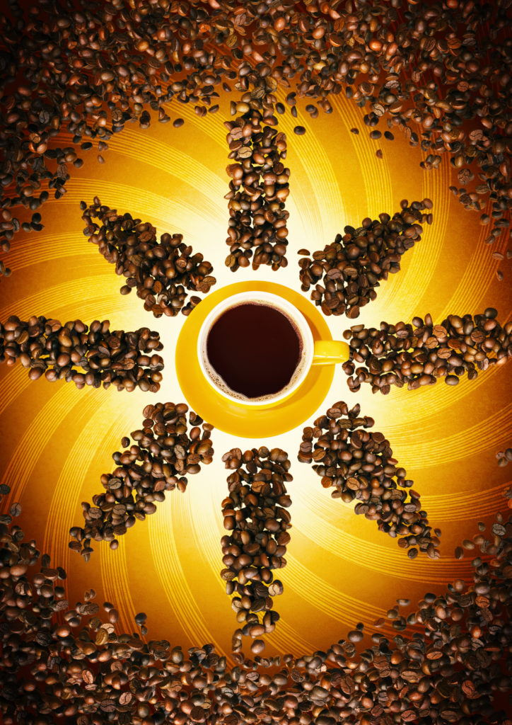 cgi illustration of coffee drink and coffee beans