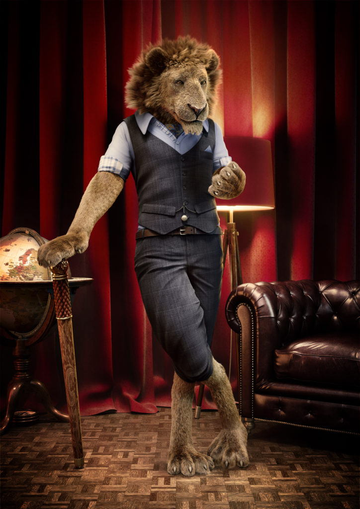 Cgi character of a lion standing in a room